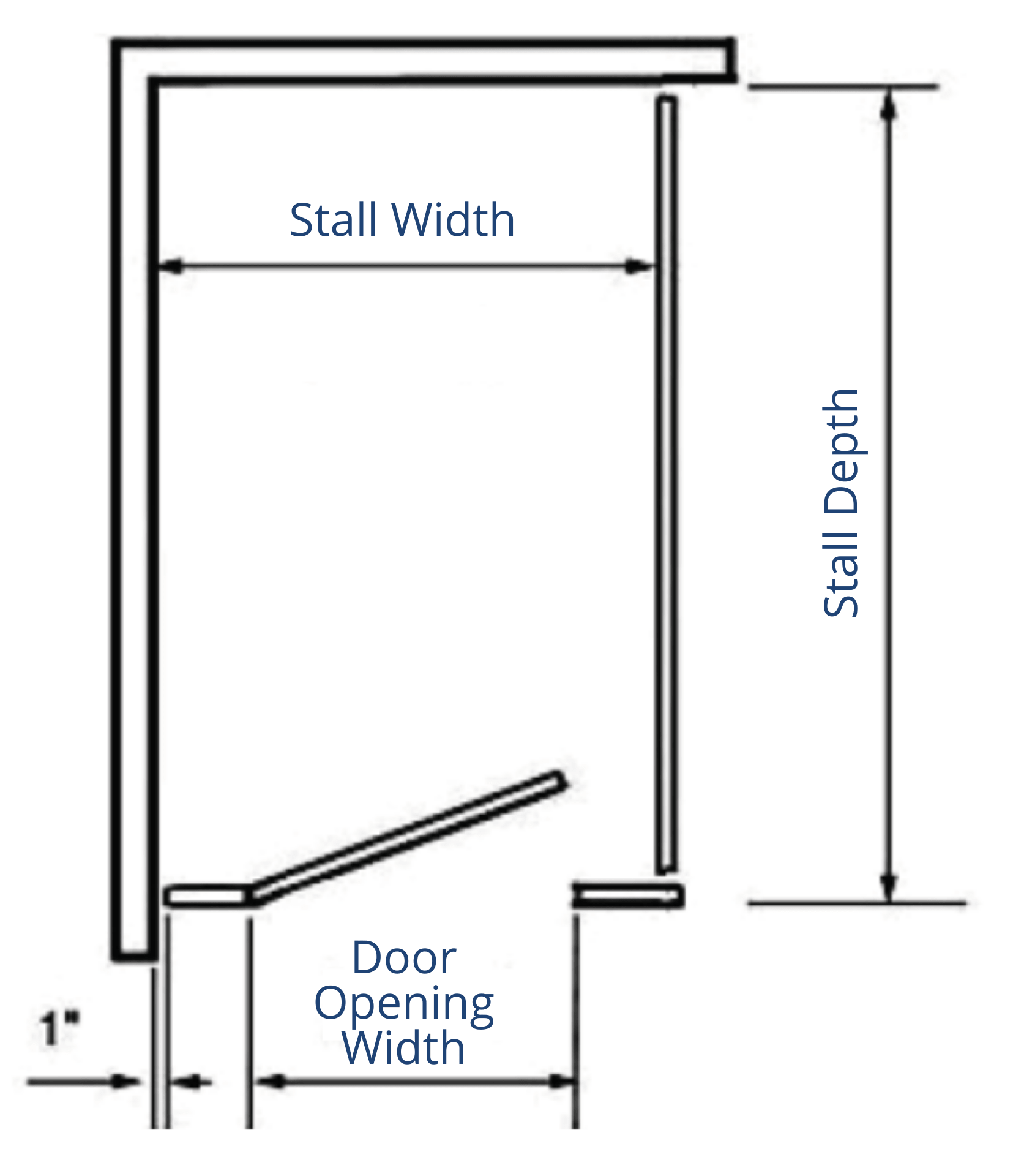 1 Stall in a corner Diagram