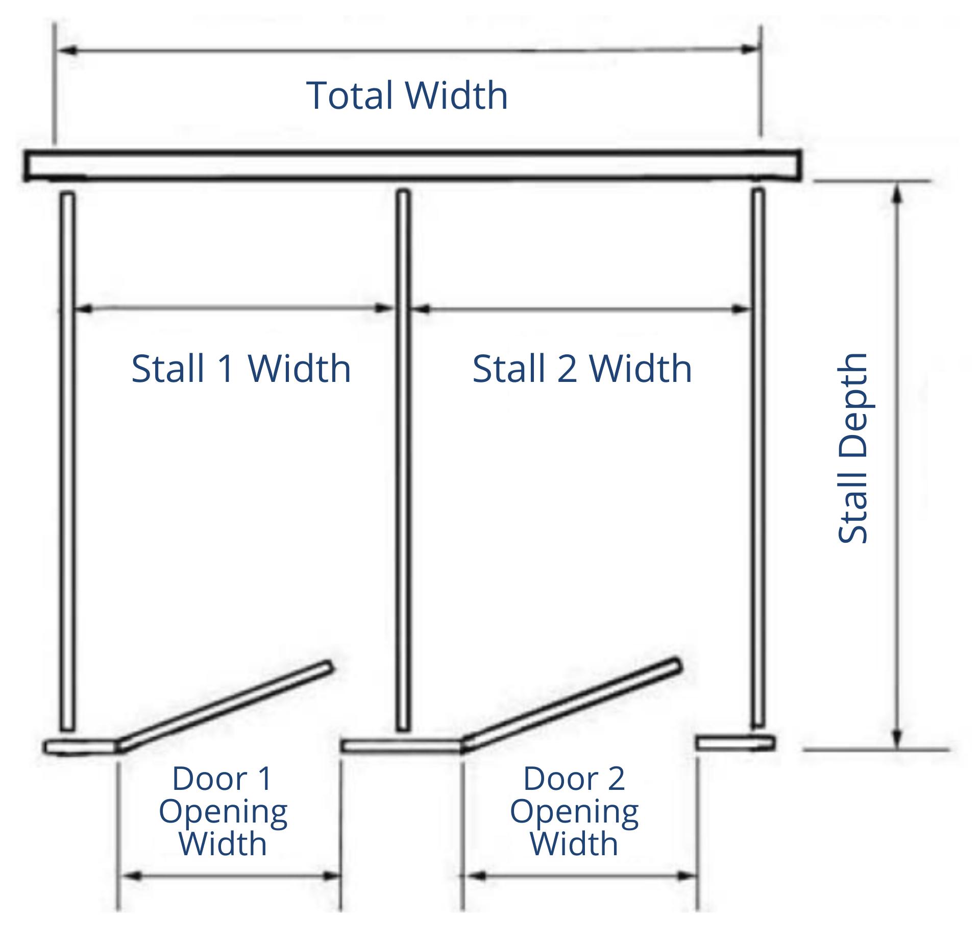 2 Stalls Free Standing Diagram